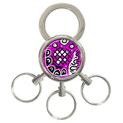 Magenta high art abstraction 3-Ring Key Chains