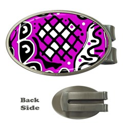 Magenta high art abstraction Money Clips (Oval)