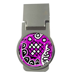 Magenta high art abstraction Money Clips (Round)