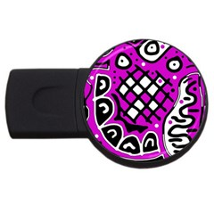 Magenta high art abstraction USB Flash Drive Round (4 GB)