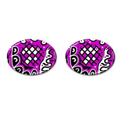 Magenta high art abstraction Cufflinks (Oval)