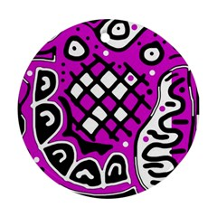 Magenta high art abstraction Round Ornament (Two Sides)