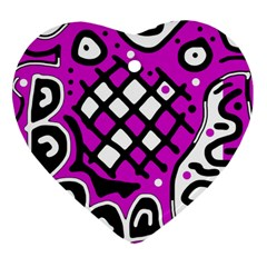 Magenta high art abstraction Heart Ornament (2 Sides)