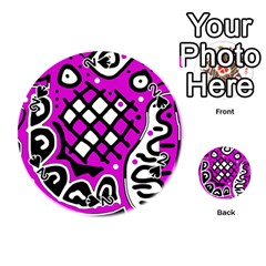Magenta high art abstraction Playing Cards 54 (Round)