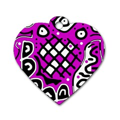 Magenta high art abstraction Dog Tag Heart (One Side)