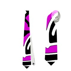 Magenta high art abstraction Neckties (One Side)