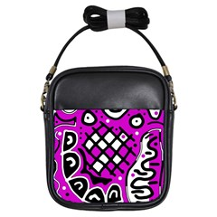Magenta high art abstraction Girls Sling Bags