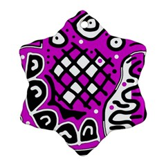 Magenta high art abstraction Snowflake Ornament (2-Side)