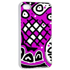 Magenta high art abstraction Apple iPhone 4/4s Seamless Case (White)