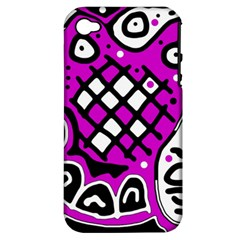 Magenta high art abstraction Apple iPhone 4/4S Hardshell Case (PC+Silicone)