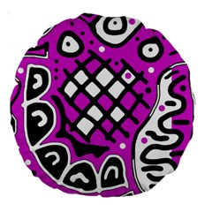 Magenta high art abstraction Large 18  Premium Round Cushions