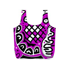 Magenta high art abstraction Full Print Recycle Bags (S)