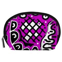 Magenta high art abstraction Accessory Pouches (Large)