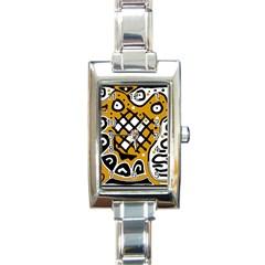 Yellow high art abstraction Rectangle Italian Charm Watch