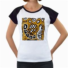 Yellow high art abstraction Women s Cap Sleeve T