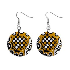 Yellow high art abstraction Mini Button Earrings