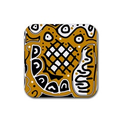 Yellow high art abstraction Rubber Square Coaster (4 pack)