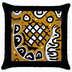 Yellow high art abstraction Throw Pillow Case (Black)