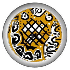 Yellow high art abstraction Wall Clocks (Silver)