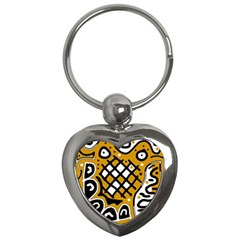 Yellow high art abstraction Key Chains (Heart)