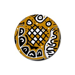 Yellow high art abstraction Rubber Coaster (Round)