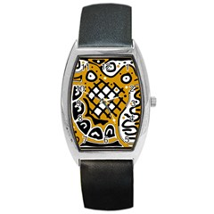 Yellow high art abstraction Barrel Style Metal Watch
