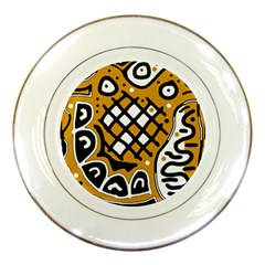 Yellow high art abstraction Porcelain Plates