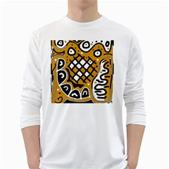 Yellow high art abstraction White Long Sleeve T-Shirts