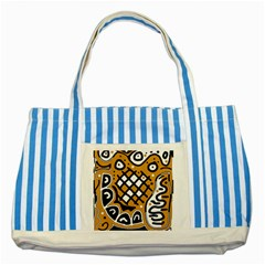 Yellow high art abstraction Striped Blue Tote Bag