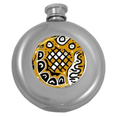 Yellow high art abstraction Round Hip Flask (5 oz)