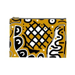 Yellow high art abstraction Cosmetic Bag (Large)