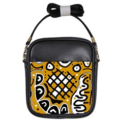 Yellow high art abstraction Girls Sling Bags