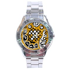 Yellow high art abstraction Stainless Steel Analogue Watch