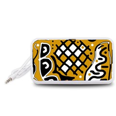 Yellow high art abstraction Portable Speaker (White)