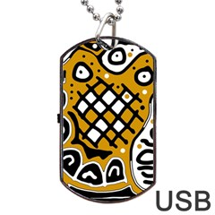 Yellow high art abstraction Dog Tag USB Flash (Two Sides)