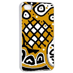 Yellow high art abstraction Apple iPhone 4/4s Seamless Case (White)