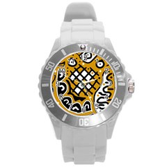 Yellow high art abstraction Round Plastic Sport Watch (L)