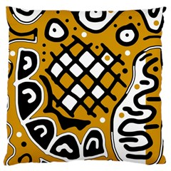 Yellow high art abstraction Large Cushion Case (One Side)