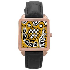 Yellow high art abstraction Rose Gold Leather Watch