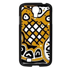 Yellow high art abstraction Samsung Galaxy S4 I9500/ I9505 Case (Black)