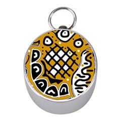 Yellow high art abstraction Mini Silver Compasses