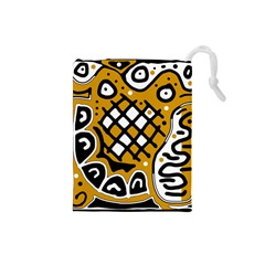 Yellow high art abstraction Drawstring Pouches (Small)