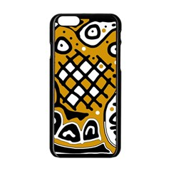 Yellow high art abstraction Apple iPhone 6/6S Black Enamel Case