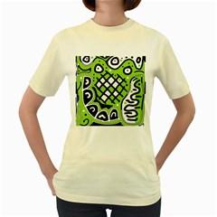 Green high art abstraction Women s Yellow T-Shirt