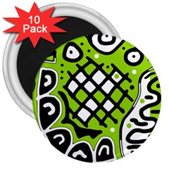 Green high art abstraction 3  Magnets (10 pack)