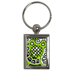 Green high art abstraction Key Chains (Rectangle)