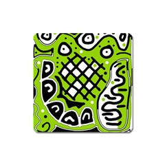 Green high art abstraction Square Magnet
