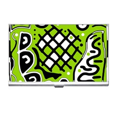 Green high art abstraction Business Card Holders