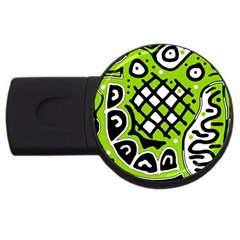 Green high art abstraction USB Flash Drive Round (2 GB)