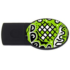Green high art abstraction USB Flash Drive Oval (1 GB)